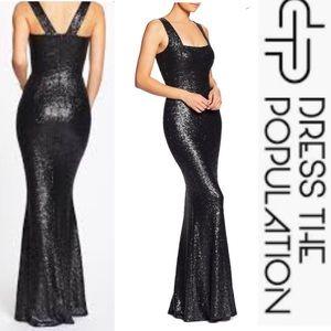 Dress the Population Dresses - Dress the Population Raven Gown Black Sequins XXL